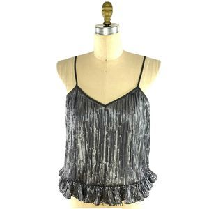 Anthropologie Gray Sequins Cami Top Ruffle Hem NEW
